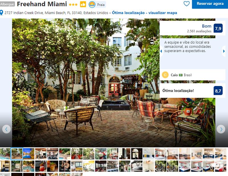 Fachada do Hostel Freehand em Miami